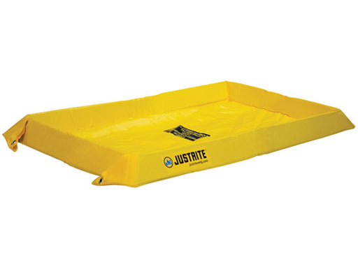 "Justrite® 2' X 4' X 4"" Yellow PVC Temporary Spill Containment Berm With 20 gal Spill Capacity"