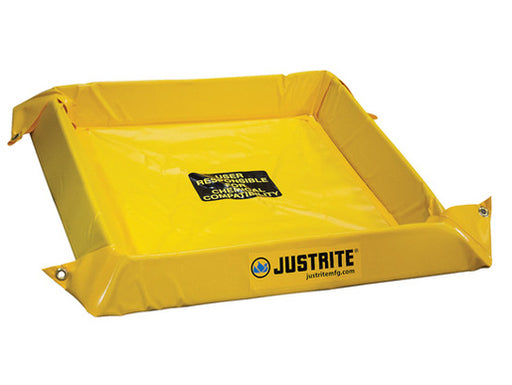 "Justrite® 4' X 4' X 4"" Yellow PVC Temporary Spill Containment Berm With 40 gal Spill Capacity"