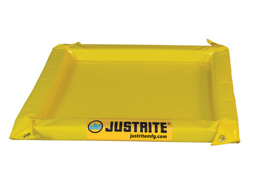 "Justrite® 4' X 4' X 2"" Yellow PVC Temporary Spill Containment Berm With 10 gal Spill Capacity"