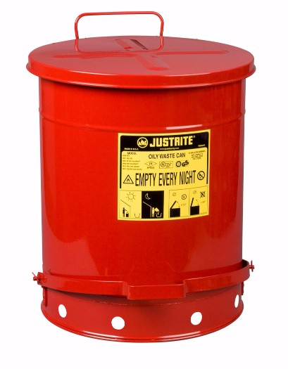 Justrite® 14 Gallon Red Galvanized Steel Oily Waste Can With Foot Lever Opening Device