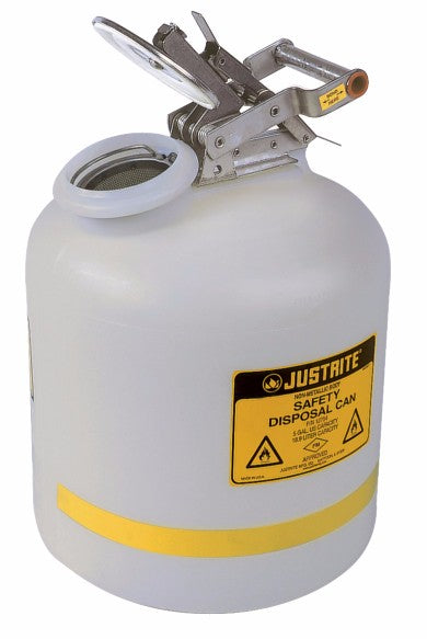 Justrite® 5 Gallon Translucent White HDPE Liquid Disposal Can With Stainless Steel Hardware (For Flammables and Corrosives)
