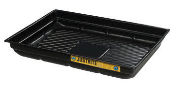 "Justrite® 47 1/2"" X 23"" X 5 1/2"" EcoPolyBlend™ Black Recycled Polyethylene Lightweight Low-Profile Spill Tray With 20 Gallon Spill Capacity"