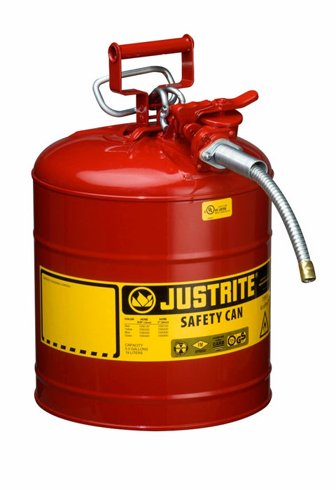 "Justrite® 5 Gallon Red AccuFlow™ Galvanized Steel Type II Vented Safety Can With Stainless Steel Flame Arrester And 5/8"" Metal Hose (For Flammable Liquids)"