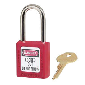 "Master Lock® Red 1 1/2"" X 1 3/4"" Zenex™ Thermoplastic Lightweight Safety Lockout Padlock With 1/4"" X 1 1/2"" Shackle (6 Locks Per Set, Keyed Differently)"