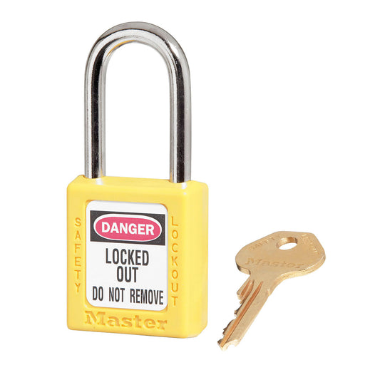 Master Lock® Yellow Thermoplastic Zenex™ 6 Pin Tumbler Padlock Steel Shackle