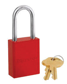 "Master Lock® Red 1 9/16"" X 1 15/16"" High-Visibility Aluminum Safety Lockout Padlock With 1 1/16"" Shackle (6 Locks Per Set, Keyed Differently)"