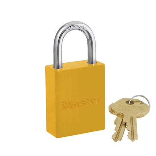 Master Lock® Yellow Aluminum 5 Pin Tumbler Padlock Boron Alloy Shackle