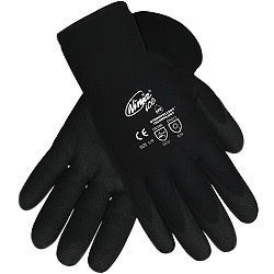 Memphis Glove Medium Black Ninja® ICE 7 Gauge Acrylic Terry Lined General Purpose Cold Weather Gloves With Knit Wrist, 15 Gauge Nylon Shell And HPT Coated Palm And Fingertips