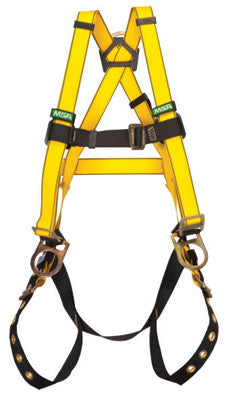 MSA Standard Workman® Construction Style Harness With Qwik-Fit™ Chest Strap Buckle, Tongue Leg Strap Buckle, Back And Hip D-Ring, Integral Back Pad And Tool