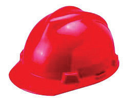 MSA Red V-Gard® Polyethylene Slotted Cap Style Hard Hat With Staz On® 4 Point Pinlock Suspension