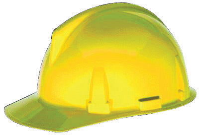 MSA Yellow TopGard® Polycarbonate Cap Style Hard Hat With Fas Trac® Ratchet Suspension