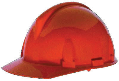 MSA Orange TopGard® Polycarbonate Cap Style Hard Hat With Fas Trac® Ratchet Suspension