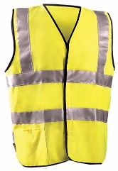 "OccuNomix 3X Hi-Viz Yellow Classic'Ñ¢ Flame Resistant Solid Cotton Class 2 Dual Stripe Vest With Hook And Loop Closure And 3M'Ñ¢ Scotchlite'Ñ¢ 2"" Reflective Tape And 1 Pocket"