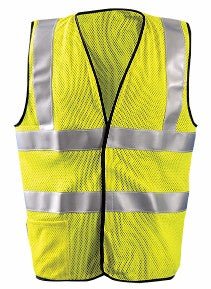 "OccuNomix 3X Hi-Viz Yellow OccuLux® Premium Flame Resistant Modacrylic Mesh Class 2 Dual Stripe Vest With Front Hook And Loop Closure, 3M™ Scotchlite™ 2"" Silver Reflective Tape, FR Binding Thread And 1 Pocket"