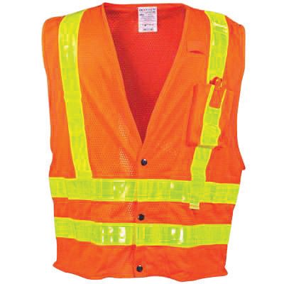 "OccuNomix X-Large Hi-Viz Orange OccuLux® Premium Light Weight Polyester Mesh Class 2 Vest With Front Snap Closure And 3M™ Scotchlite™ 2"" Reflective Gloss Tape And 4 Pockets"