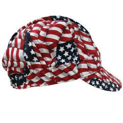 OccuNomix Wavy Flag Tuff Nougies 100% Cotton Traditional Hard Billed Welder's Cap