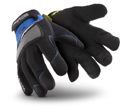 HexArmor® Size 9 Black And Blue Mechanics+ Clute Cut SuperFabric® And Synthetic Leather Reusable Cut Resistant Gloves With Elastic Cuff, High-Performance Polyethylene Kevlar® Lined And Hook And Loop Closure
