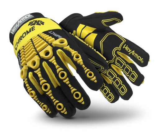 HexArmor® Size 11 Black And Yellow Chrome Series® Clute Cut SuperFabric® And Leather Reusable 360° Cut Resistant Gloves With Elastic Cuff, SuperFabric® Lined And PVC Printed Synthetic Leather Palm