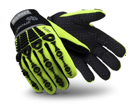 HexArmor® Size 10 Hi-Viz Green And Black Chrome Series® Clute Cut SuperFabric® And Synthetic Leather Reusable Cut Resistant Gloves With Elastic Cuff, SuperFabric® Lined, PVC Dotted Synthetic Leather Palm And Back Of Hand
