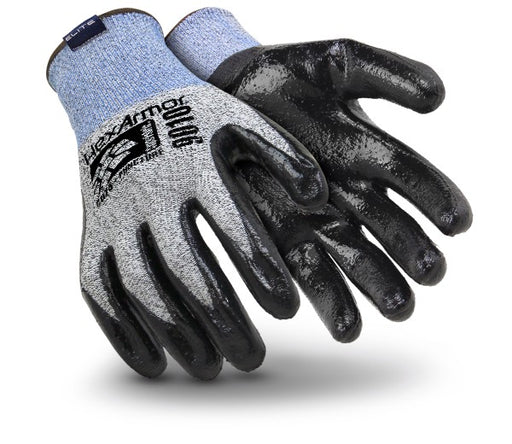 HexArmor® Large Gray, Blue And Black 9000 Series™ Polyethylene And Fiberglass Cut Resistant Gloves With Knit Wrist And Black Nitrile Coating On Palm And Fingers