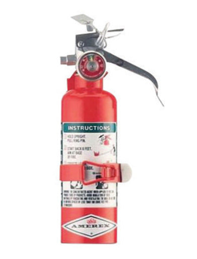 Amerex® 1.4 Pound Halotron® I 1-B:C Fire Extinguisher For Class B And C Fires With Anodized Aluminum Valve, Vehicle Bracket And Nozzle