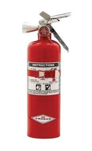 Amerex® 5 Pound Halotron® I 5-B:C Steel Fire Extinguisher For Class B And C Fires With Anodized Aluminum Valve, Vehicle/Marine Bracket And Nozzle