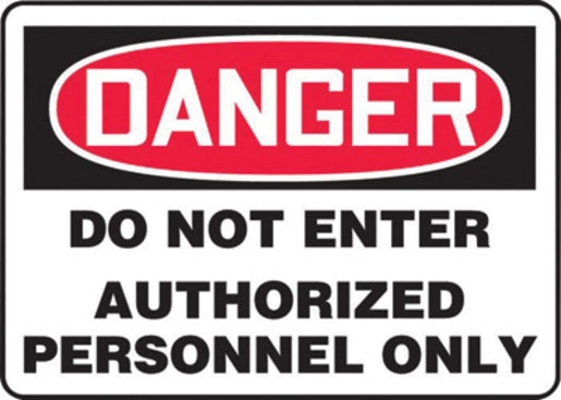 "Accuform Signs® 10"" X 14"" Black, Red And White 0.040"" Aluminum Admittance And Exit Sign ""DANGER DO NOT ENTER AUTHORIZED PERSONNEL ONLY"" With Round Corner"