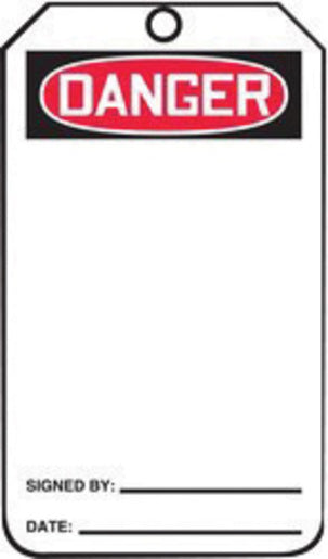 "Accuform Signs® 5 3/4"" X 3 1/4"" Black, Red And White HS-Laminate English Accident Prevention Safety Tag ""DANGER"" With Pull-Proof Metal Grommeted 3/8"" Reinforced Hole, Do Not Remove Tag Warning On Back And Standard Back B (25 Per Pack)"