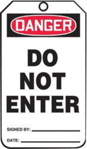 "Accuform Signs® 5 3/4"" X 3 1/4"" Black, Red And White HS-Laminate English Accident Prevention Safety Tag ""DANGER DO NOT ENTER"" With Pull-Proof Metal Grommeted 3/8"" Reinforced Hole, Do Not Remove Tag Warning On Back And Standard Back B (25 Per Pack)"