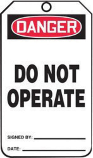 "Accuform Signs® 5 3/4"" X 3 1/4"" Black, Red And White HS-Laminate English Accident Prevention Tag ""DANGER DO NOT OPERATE"" With Pull-Proof Metal Grommeted 3/8"" Reinforced Hole, Do Not Remove Tag Warning On Back And Standard Back B (25 Per Pack)"