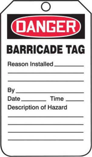 "Accuform Signs® 5 3/4"" X 3 1/4"" Red, Black And White 15 mil RP-Plastic English Tag ""DANGER"" With Metal Grommeted 3/8"" Reinforced Hole (25 Per Pack)"