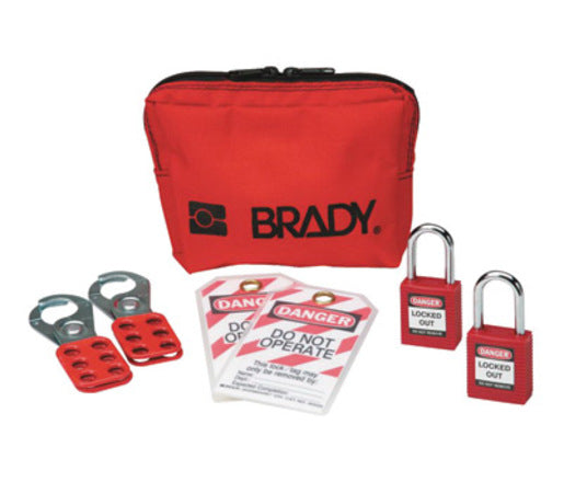 "Brady® Red 1 1/2"" W Plastic Personal Padlock Pouch Includes (2) Group Lockout Hasps, (2) Heavy Duty Lockout Tags, (2) Keyed-Alike Safety Padlocks And (1) Lockout Belt Pouch"