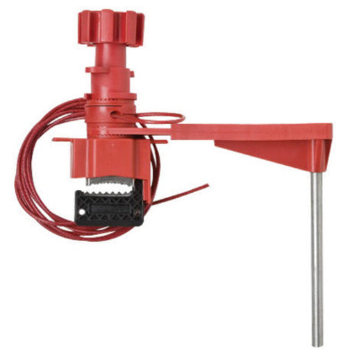 Brady® Red Industrial Grade Steel And Nylon Large Universal Valve Lockout With 8' Sheathed Cable And Blocking Arm