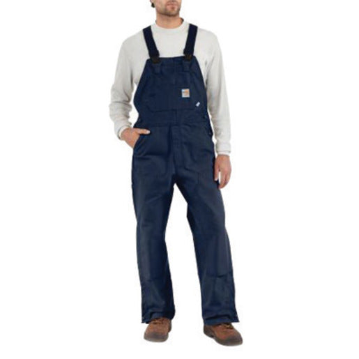 "Carhartt Size 34"" X 34"" Dark Navy Cotton/Duck Flame-Resistant Bib Overalls With Zipper Closure And Ankle-To-Above Knee Brass Leg Zippers With Nomex Fr Zipper Tape And Protective Flaps With Arc-Resistant Snap Closures"