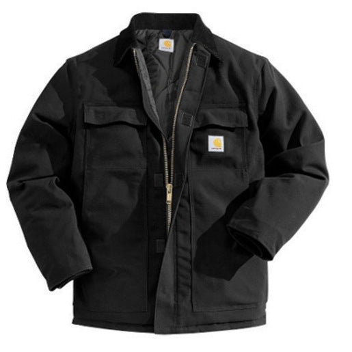 Carhartt® Medium Regular Black Nylon Quilt Lined 12 Ounce Cotton Duck Arctic Traditional Coat With Front Zipper, Hook And Loop Closure Triple-Stitched Seams (2) Chest Pockets, (2) Front Pockets And (2) Inside Pockets