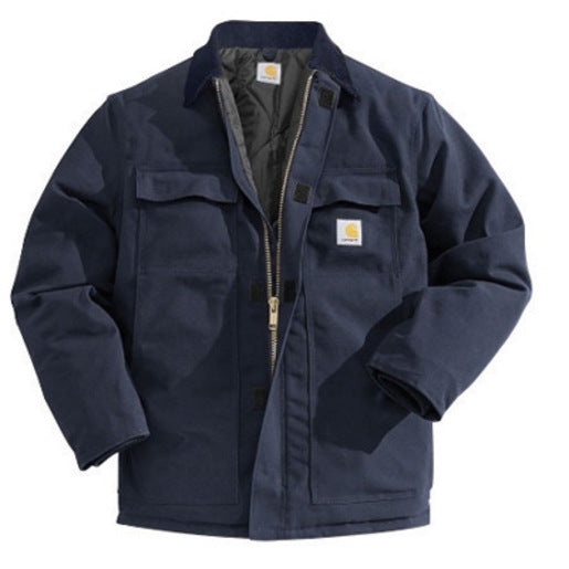 Carhartt® Small Regular Dark Navy Nylon Quilt Lined 12 Ounce Cotton Duck Arctic Traditional Coat With Front Zipper, Hook And Loop Closure Triple-Stitched Seams (2) Chest Pockets, (2) Front Pockets And (2) Inside Pockets