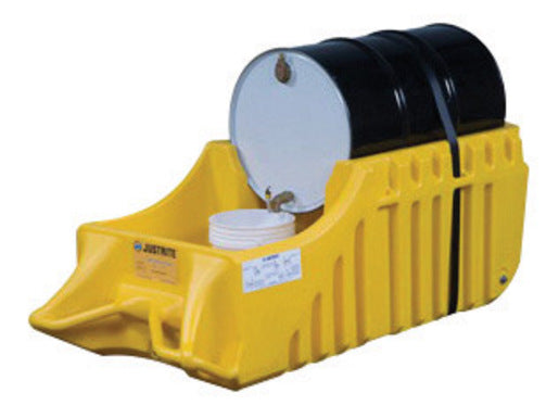 "Justrite® 32"" X 26"" X 72"" 66 Gallon EcoPolyBlend™ Yellow Polyethylene Indoor And Outdoor Drum Caddy With Rubber Wheels (For Spill Containment)"