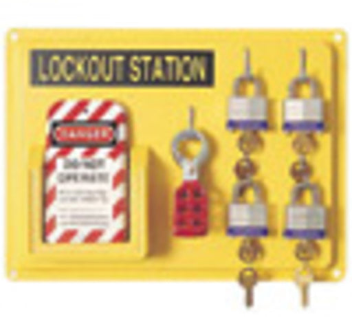 "North® by Honeywell 14"" Polystyrene Complete Lockout Station Includes (1) Panel, (4) 3D Wide Keyed Padlocks, (1) ElA290 Lockout Tags And (3) Hasps"