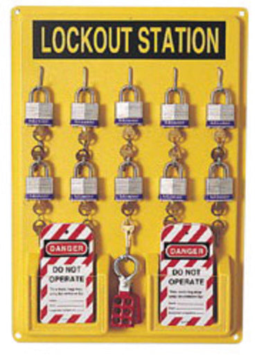 North® by Honeywell Polystyrene Unfilled Complete Lockout Station Includes (1) Panel, (10) 3D Wide Keyed Padlocks, (2) Lockout Tags And (3) Hasps