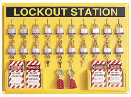 "North® by Honeywell 21"" X 29"" Polystyrene Departmental Complete Lockout Station Includes (1) Panel, (20) 3D Wide Individually Keyed Padlocks, (4) Lockout Tags And (6) Hasps"