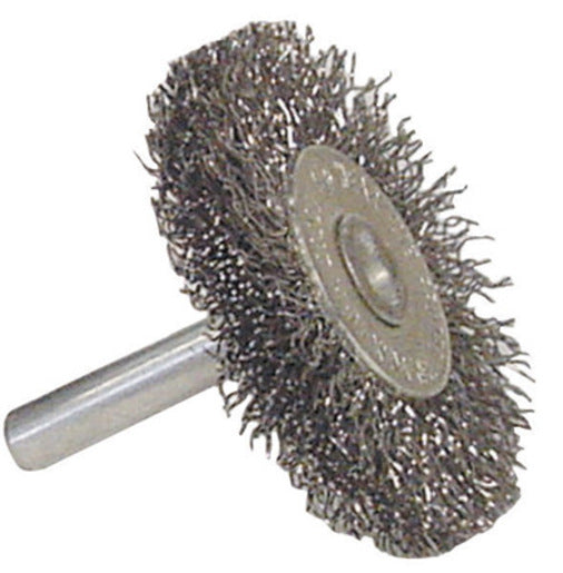 "Radnor® 1 1/2"" X 1/4"" Carbon Steel Coarse Crimped Wire Mounted Wheel Brush For Use On Die Grinders And Drills"