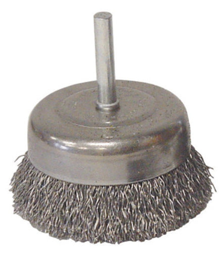 "Radnor® 1 1/2"" X 1/4"" Carbon Steel Coarse Crimped Wire Mounted Cup Brush For Use On Die Grinders And Drills"