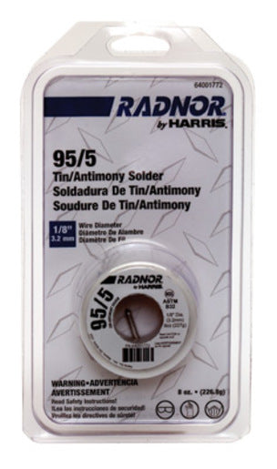 "1/8"" Radnor® by Harris® 95/5 (Tin/Antimony) Solder 8 Ounce Spool"