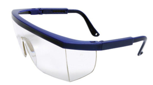 Radnor® Retro Series Safety Glasses With Blue Frame, Clear Anti-Scratch Lens And Integrated Sideshields