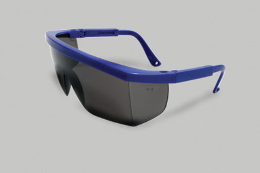Radnor® Retro Series Safety Glasses With Blue Frame, Gray Anti-Scratch Lens And Integrated Sideshields
