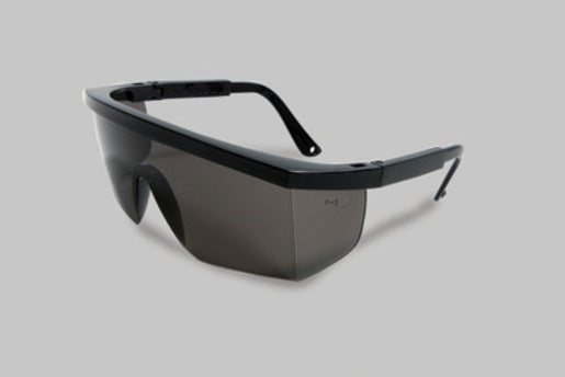 Radnor® Retro Series Safety Glasses With Black Frame, Gray Anti-Scratch Lens And Integrated Sideshields