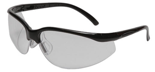 Radnor® Motion Series Safety Glasses With Black Frame, Clear Polycarbonate Scratch Resistant Lens And Adjustable Temples