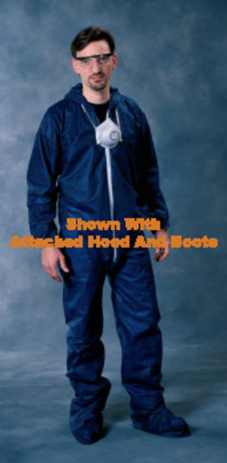 Radnor® 3X Blue Spunbond Polypropylene Disposable Coveralls With Front Zipper Closure