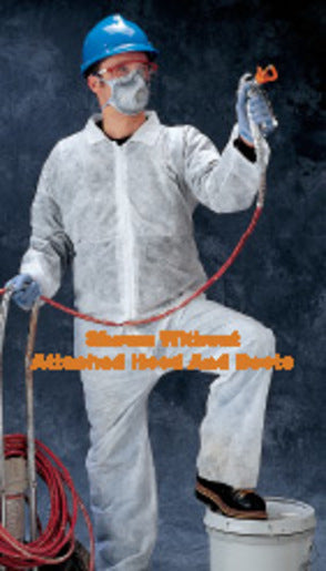 Radnor® 3X White Spunbond Polypropylene Disposable Coveralls With Front Zipper Closure And Attached Hood And Boots