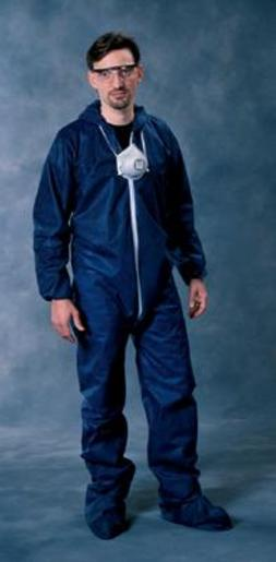 Radnor® 3X Blue Spunbond Polypropylene Disposable Coveralls With Front Zipper Closure And Attached Hood And Boots